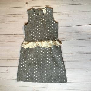 Crew cuts size 8 gray polka dress with silk trim